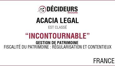 """Acacia Legal dans le classement Décideurs """"Gestion de Patrimoine"""""""