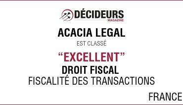 """Acacia Legal dans le classement Décideurs """"Stratégies Financières et Fiscales"""""""
