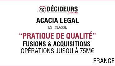 """Acacia Legal dans le classement Décideurs """"Fusions et Acquisitions"""""""